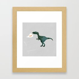 Velociraptor with Flag Making its Iconic Sound Framed Art Print