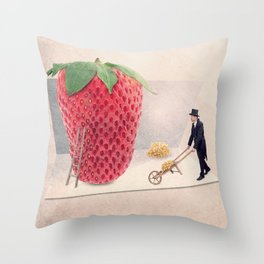 the strawberry seed-sticker Throw Pillow