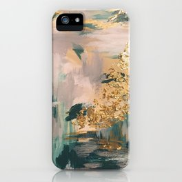 Teal and Gold Abstract- 24K Magic iPhone Case