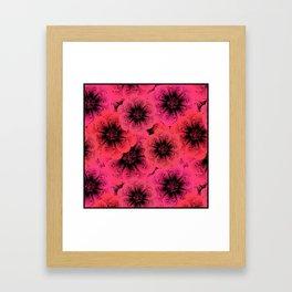 Bright red, crimson flowers background. Framed Art Print