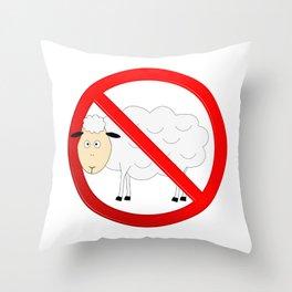 Sheep Not Allowed Sign Throw Pillow