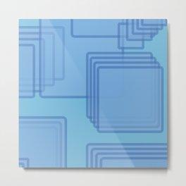 Serene Blue Tech Squares Modern Minimilism  Metal Print