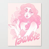 barbie Canvas Prints featuring Barbie by Petite Passerine