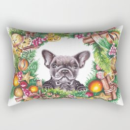 Frenchie in the christmas wreath Rectangular Pillow