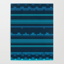 Dark Blue and Teal Stripes with Mixed Patterns Poster