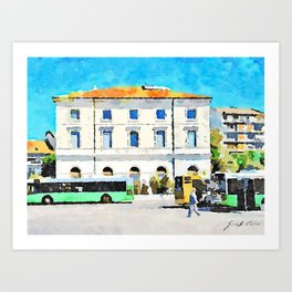 Pescara: bus terminus in front of the old station building Art Print