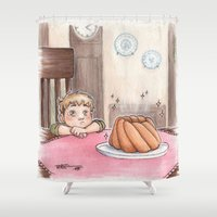 snk Shower Curtains featuring Jean Kirschstein & cake by CaptBexx