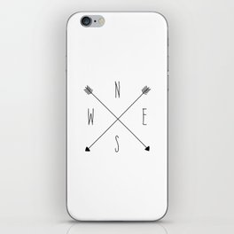Compass - North South East West - White iPhone Skin