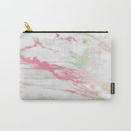 White faux marble colorful veine accents Carry-All Pouch