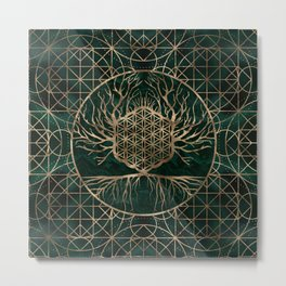 Flower of Life in Tree of life Malachite and Gold Metal Print