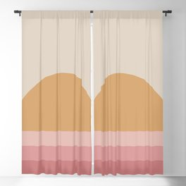 Minimal Retro Sunset / Sunrise - Warm Pink Blackout Curtain