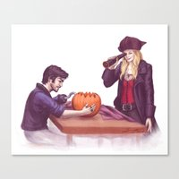 captain swan Canvas Prints featuring Captain Swan Halloween by Svenja Gosen