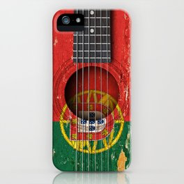 Old Vintage Acoustic Guitar with Portuguese Flag iPhone Case