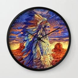 native american colorful portrait Wall Clock