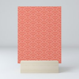 Pantone Living Coral Scallop Wave Pattern and Polka Dots Mini Art Print