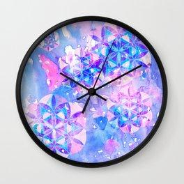 Flower-of-Life Paint Pattern Blue Wall Clock