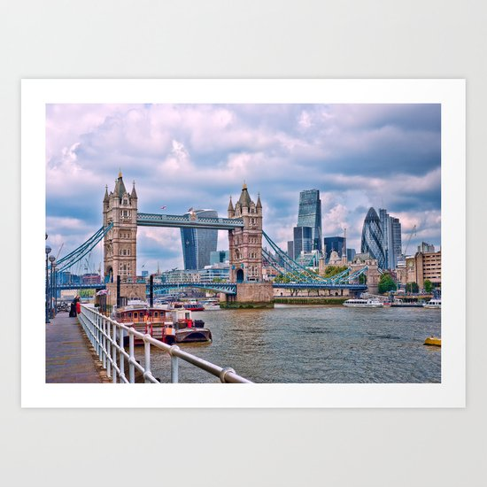 London Tower Bridge Blue Art Print