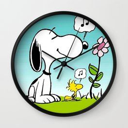 snoopy flower and music Wall Clock