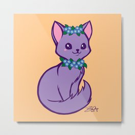 Pritty Kitty Has Forget Me Nots Metal Print