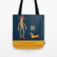 dachshund Tote Bags featuring Dachshund by Ariel Wilson
