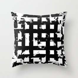 Splatter Hatch - Black and white, abstract hatched pattern Throw Pillow