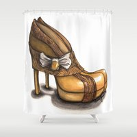 ramen Shower Curtains featuring Ramen Kimono Style Heels by hivernoir