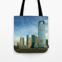new jersey Tote Bags featuring New Jersey by Raymond Earley