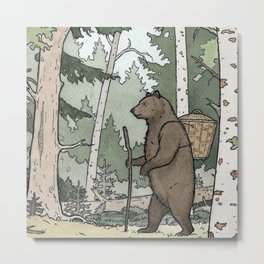 Bear walking nature Metal Print