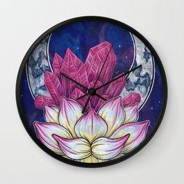 Lotus Crystals Wall Clock