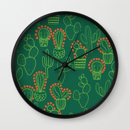 cute cactus pattern with dots Wall Clock