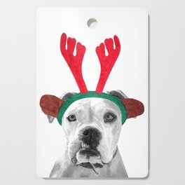 Black and White Boxer Christmas Cutting Board