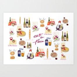 Paris Food Map Art Print