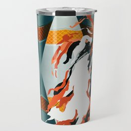 Orange Waterfall Futuristic Abstract Art Travel Mug