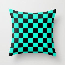 Black and Aqua Checkerboard Pattern Throw Pillow