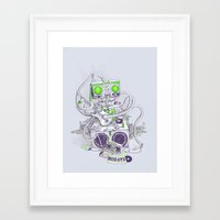 hippy Framed Art Prints featuring Hippy robot by Mathijs Vissers
