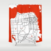 san francisco map Shower Curtains featuring District San Francisco Map by Studio Tesouro