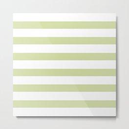Baby Green Stripes on White Metal Print