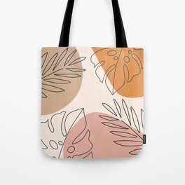 Abstract Nature Leaf Minimalist Print Tote Bag