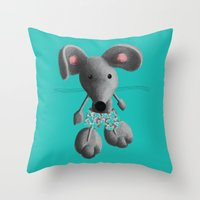 rat Throw Pillows featuring Rat by Laurel