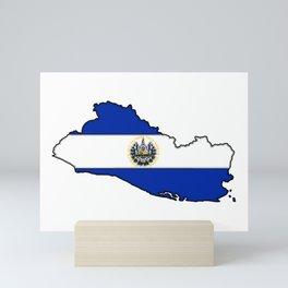 El Salvador Map with Salvadoran Flag Mini Art Print