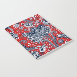 Red White & Blue Floral Paisley Notebook