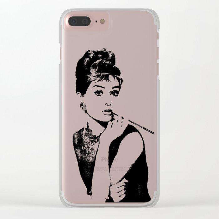 Audrey Hepburn Breakfast at Tiffanys Clear iPhone Case