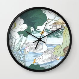White Geese And Blossoming Lotus Flowers - Antique Japanese Woodblock Print Art By Kono Bairei Wall Clock