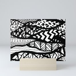Black and White Tribal Waves Line Patterns Design Mini Art Print