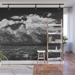 Mountain Summer Escape - Black and White Tetons Wall Mural