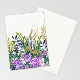 Gold Glitter Purple Garden Stationery Cards