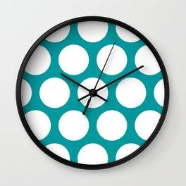 Large Polka Dots: Teal Wall Clock