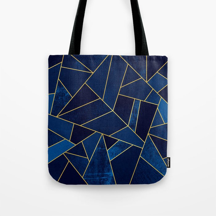 Blue stone with yellow lines Tote Bag