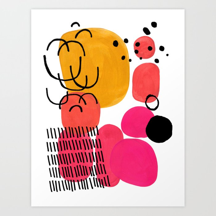 Modern Mid Century Fun Colorful Abstract Minimalist Painting Yellow Pink Bubble Candy Drops Kunstdrucke