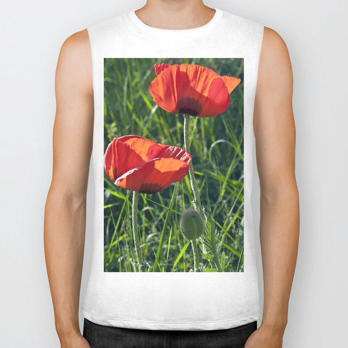 Red Poppies on the summer meadow Biker Tank